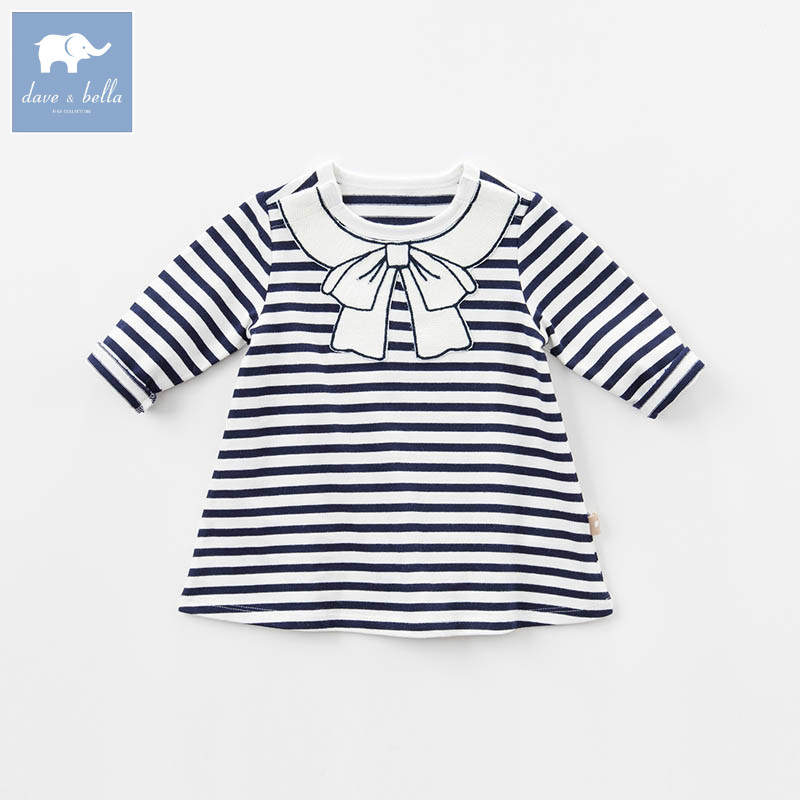 DB7629 dave bella spring infant baby girls fashion striped dress kids birthday party dress toddler children clothes <br>