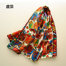 Cartoon cats long scarf women sunscreen soft thin mulberry natural silk scarf printed scarves wrap shawl christmas gift for Lady(China)