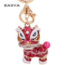EASYA Chinese Festival Rotatable Lion Dance Men Car Keychain Crystal Lucky Mascot Key Chain Ring Women Bags Holder Charm(China)