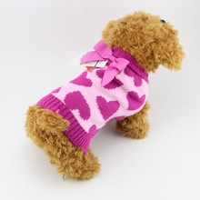 Christmas Rose  Knot Hearts Flower Cat Dog Clothes Autumn/winter Floral Coat Dog Sweaters Dog Clothes Pet Products