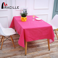 Miracille Dark Pink Table Cover Classics White Dots Cotton Linen Dustproof Table cloth for Living Room Bedroom Tea Table Decor