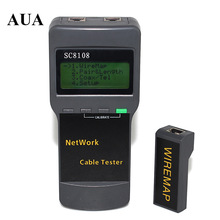 Portable Multifunction Wireless Network Tester Sc8108 LCD Digital PC Data Network CAT5 RJ45 LAN Phone Cable Tester Meter wire