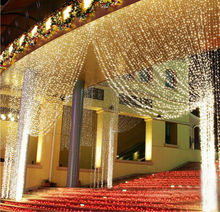 3M x 3M 300 LED Curtain icicle string Outdoor Home Party Christmas xmas Decoration Fairy Wedding Garlands Strip Lights x 2pcs(China)