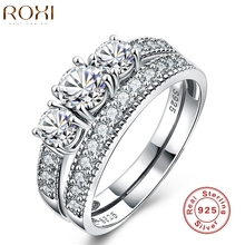 ROXI Luxury 925 Sterling Sliver Jewelry Rings For Women Wedding Engagement Ring Set Genuine Three Stone 925 Solid Sliver anillos(China)