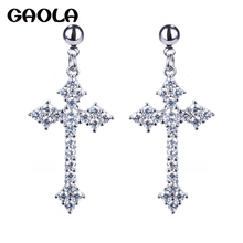 High Quality Inlaid Cross Dangle Earrings,New Listing Crystal Cross Earrings,Fashion Jewelry Earrings For Woman GLE3737(China)
