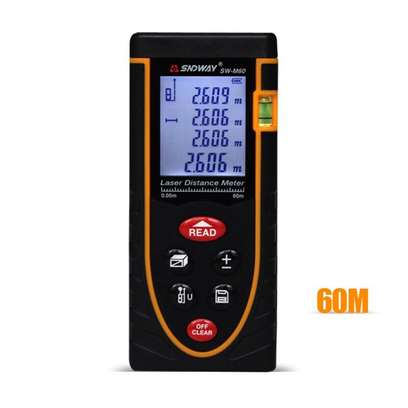 SNDWAY SW-M60 Digital Handheld Laser Rangefinder Distance Meter laser Range laser tape measure tools 60m<br>