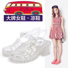 Summer New Fashion Retro Crystal JellyTransparent Plastic Women Beach Sandals T-Roman Sandals Swimming Shoes