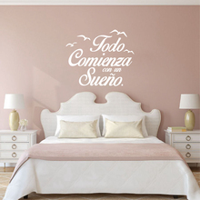 Spanish Quote Vinyl Wall Stickers Bedroom Wall Decals Birds Letterings Home Decor Bedroom Decoration(China)