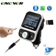 Onever Car MP3 Player Bluetooth FM transmitter Handsfree with 2 USB ports Car Charger Support U Disk TF card AUX Audio In Output(China)