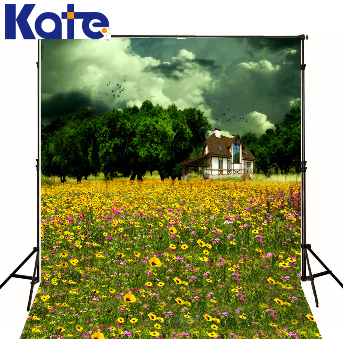 Photo Background Green Trees House Photography Background Newborn Yellow Flowers Background Customize Backdrop<br>