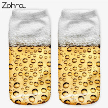 Zohra Hot Sales Beer Graphic 3D Graphic Full Printing Sock Women Meias Low Cut Ankle Socks Cotton Hosiery Socks