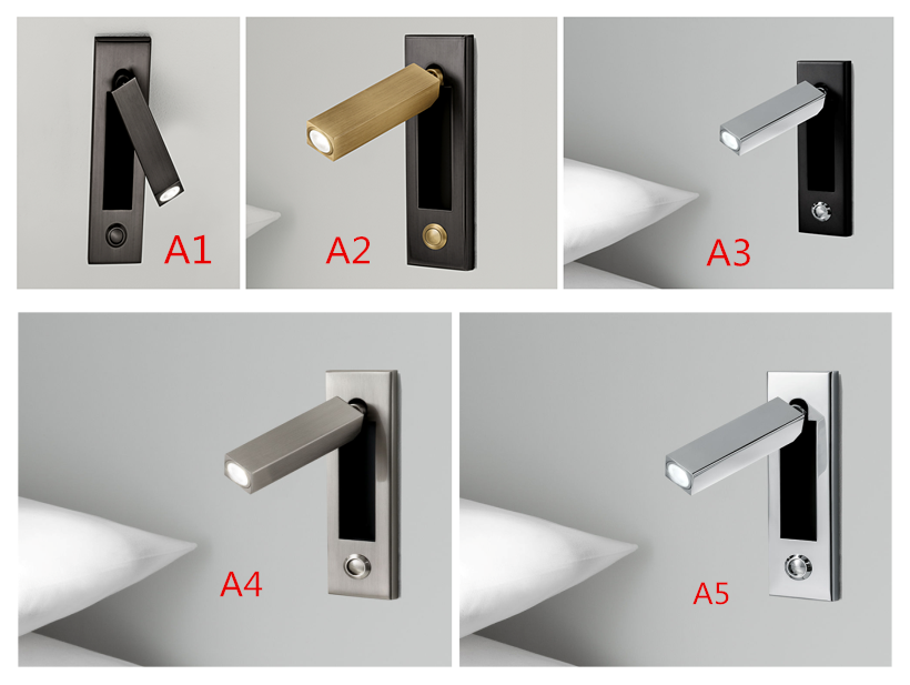 Recessed Square  wall lamp 360 degree rotation angle hotel bedside LED reading light ,AC:100-240V.<br>