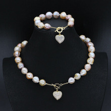 Heart Clasp With Big Baroque Pearl Jewelry Set(2 Pieces Necklace+Bracelet Set)Women Keshi Pearl Jewelry Gifts