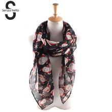 Senza Fretta New Women Scarf Chiffon Colorful Printed Sweet Santa Claus Snowflake Scarf Shawl Girls Christmas Gift DWW6442(China)