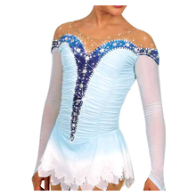 Customized Costume Ice Figure Skating Dress Gymnastics Competition White Adult Child Girl Performance Rhinestone Blue Border