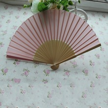 Bamboo Fan Birthday Props Wedding Gifts Christmas Decorations Silk Folding Fan Japanese Solid Color Event & Party Supplies