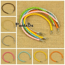 HOT Colorful Braided PU Leather Cord Bracelet Jewellery Making Brass Ends Iron JumpRings DIY Jewelry Findings Material(China)