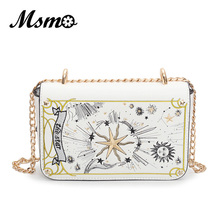 MSMO 2017 Autumn Black/White Tarot Clutch Embroidery Cross Bag Fashion Chain Shoulder Bag High Quality PU Leather Crossbody bags(China)