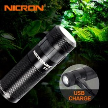 NICRON 3W High Brightness Mini LED Flashlight Keychain Light Waterproof LED USB Rechargeable Torch Lantern Portable Lights B10