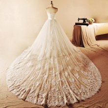 Cheap Real Pictures Scoop Neck Beading Lace Ruffle Organza Long Wedding Dress Bridal Gown Detachable tail(China)