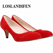 LOSLANDIFEN 6cm Round Toe Women Pumps Sexy High Heels Shoes Flock Red Wedding Pump Woman Casual Slip-on Dress Shoe 35-42(China)