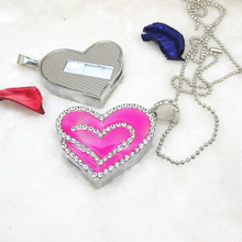 100% Real 4GB 8GB 16GB 32GB Fashion Jewelry Crystal Necklace Heart Shape USB 2.0 Flash Drive Sitck Pen Drive Pendrive