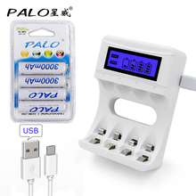 Intelligence 4 Slots LCD display battery Charger for AA / AAA Batteries + 4 pcs AA 3000mah nimh rechargeable batteries