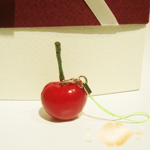 30PCS-5cm cute red Cherry fruit model simulation Fruits phone charm Squishies fashion party gift FREE SHIPPING