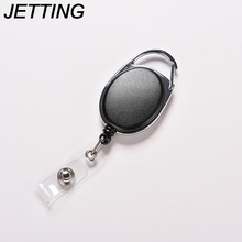 JETTING Black Pull Key Ring ID Card Badge Tag Belt Clip Chain Holder Metal Housing Plastic Covers