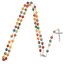 NingXiang Colorful Rose Stamp Catholic Rosary Necklace Jesus Crucifix Stars Mary Centerpiece Handmade Five Decade Rosary Prayer