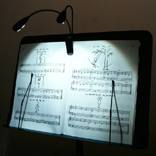 Hot Black Clip-on 2 Dual Arms 4 LED Flexible Book Music Stand Light Lamp Musical Instruments Parts &Accessories