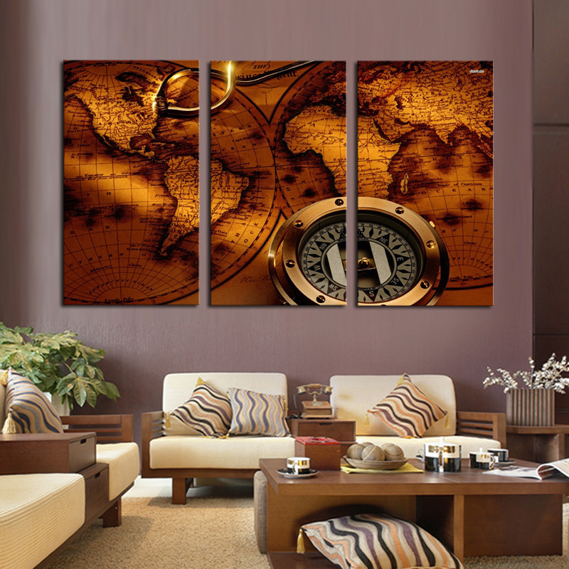 World Map Painting Wall Art Home Decoration Living Room Canvas Printed Printing On Framed