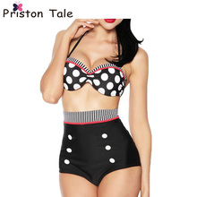 2017 Hot Polka Dots High Waist Women Bikinis Triangle Sexy Push Up Halter Female Swimwear Bathing Suit Full Cup Swimsuits A78
