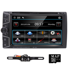 2 din car dvd player GPS Navigation universal car radio audio stereo in dash Bluetooth Free map+Camera