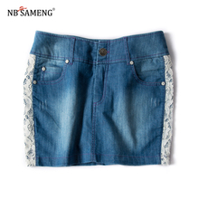 Summer Jeans Skirt Women Side Lace Denim Skirts Fashion Ladies Female Mini Washed Casual Pencil Skirt(China)