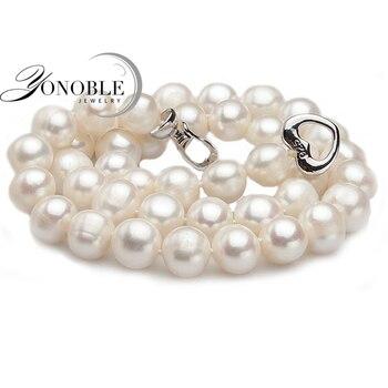 Настоящее Пресноводные жемчужные ожерелья женщины свадьба, белый колье натуральный жемчуг ожерелье 925 серебряные ювелирные изделия большой лучший подарок на день рождения