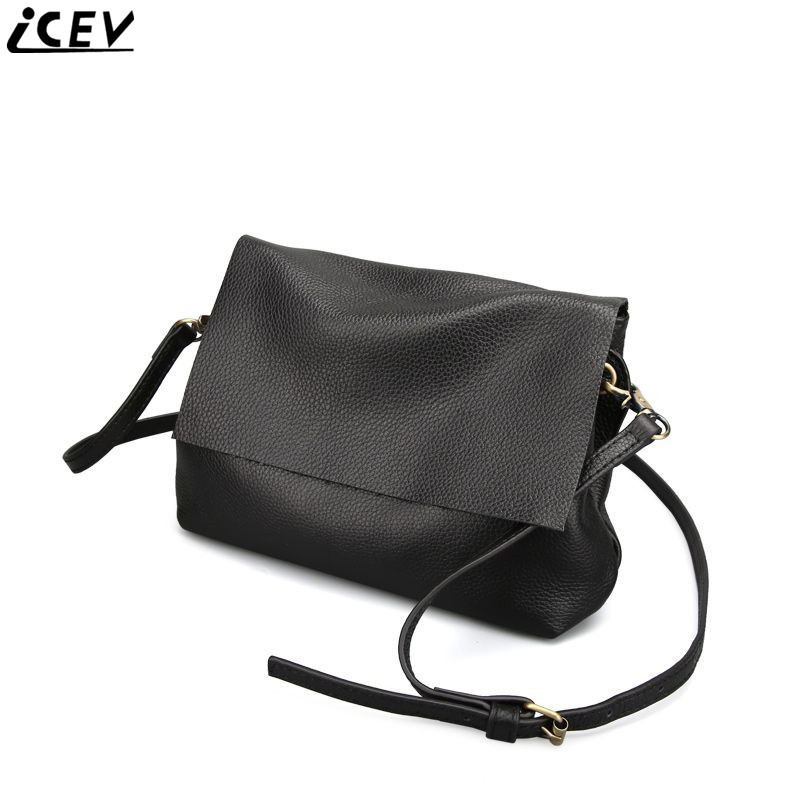 ICEV new small top handle shoulder bags multi-storey 100% genuine leather women messenger bags soft black cover bag cow leather<br>
