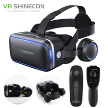 Virtual Reality Smartphone 3D Glasses VR Headset Shinecon 6.0 Stereo Helmet BOX VR Headset with Remote Control for IOS Android(China)