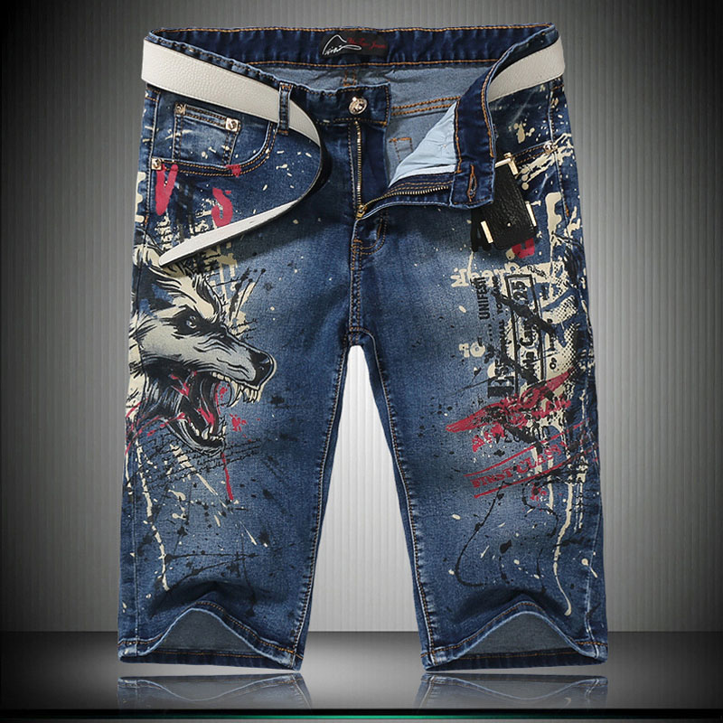 New Summer European Style Unique Animal Printed Denim Shorts Blue Painted Slim Fit Washed Jeans Shorts For Cool MenÎäåæäà è àêñåññóàðû<br><br>