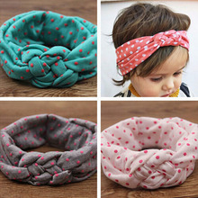 YIFEI Soft Jewely Girl Kids Cross Hairband Turban Knitted Knot Headband Headwear Hair Bands Hair Accessories Dot decoration(China)
