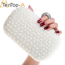 TenTop-A Full Side Beaded Bag Best Gorgeous Bridal Bags Women's Imitation Pearls Diamond Finger Ring Beads Party Clutches Purse