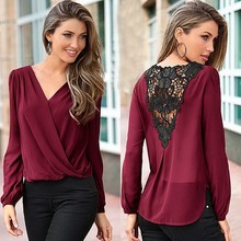 Blusa 2016 Women V Neck Chiffon Blouse Sexy Back Hollow Lace Patchwork Long Sleeve Shirt Drape Front Irregular Hem Top 5Color u2