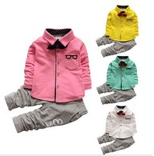 2017 formal Boys suit sets handsome children clothing Sets cotton Kids apparel 3pcs suit tie+long sleeve shirts+trousers F1789