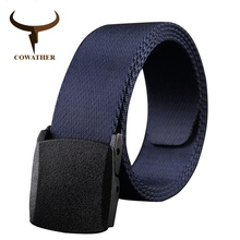 COWATHER 2016 good quality canvas belts for men luxury design mens belt casual style male strap ceinture homme original brand