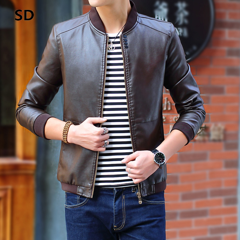 SD Brand Motorcycle Leather Jackets Men Brand slim fit PU Leather Jacket Men Outwear Inverno Couro Mens Stand Collar Jacket 105