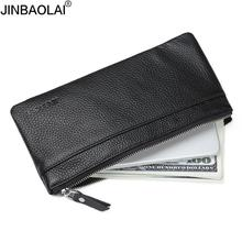 JINBAOLAI Genuine Leather Men's Wallet with Cell Phone Bag Ultra-thin Long Zipper Wallet for Men Slim Clutch Purse for Male(China)
