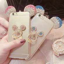 For Samsung Galaxy J5 J7 Cover S8 S7 S6 Edge Plus J510 J710 A5 2016 Mickey Mouse Ear Bling Rhinestone TPU Back Cover Phone Case