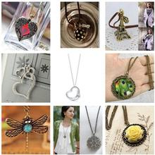 1pcs Women Heart Tower Cross Love Letters Of The Vintage Old Owl Animals Geometric triangles Pendant Necklace Fashion Jewelry