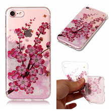 Soft TPU+IMD Glitter Case for iphone 7 7plus Daisy Plum Roses Flowers Feather Princess Puppy image Painted Phone Case