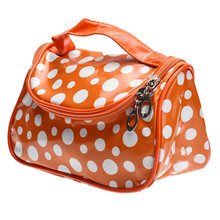Waterproof Dots Printed Women Ladies PU Leather Cosmetic Bag with Mirror Large Capacity Trunk Shape Zipper Make Up Bags 2016